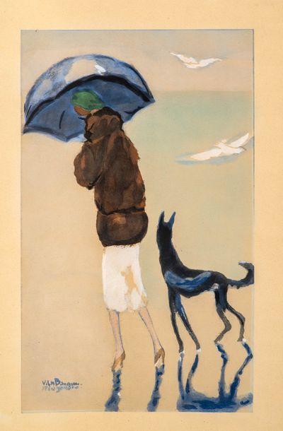 Kees VAN DONGEN  (1877-1968)  Femme et chien...