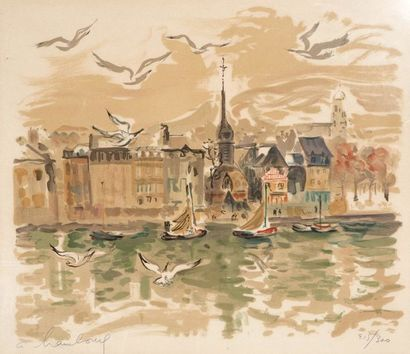 André HAMBOURG  (1909 - 1999)  Le port de...