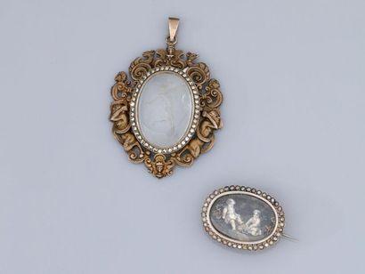 Médaillon et broche en, argent 925 MM, l'une...