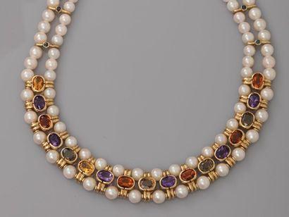 Elegant collier de deux rangs de perles de...