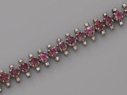 Bracelet souple en or gris, 750 MM, souligné...