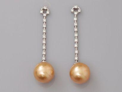 Elégants pendants d'oreilles en or gris,...