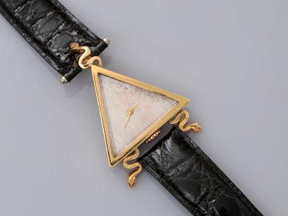 FRECHOT. Bracelet montre en or jaune, 750...