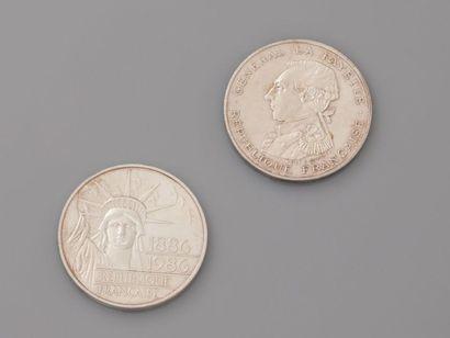 Deux pièces de 100 F en, argent 925 MM, l'une...
