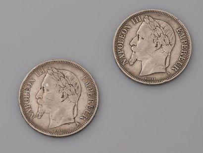 Deux pièces de 5 F.en, argent 925 MM, 1868...