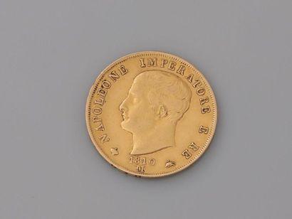 Pièce de 40. Lire en or , datée 1810, NAPOLEONE...