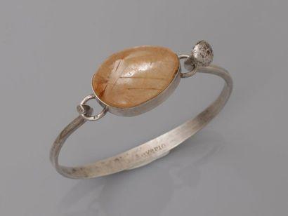 Bracelet ouvrant en, argent 925 MM, centé...