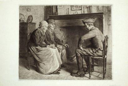 Decisy Eugène (1866-1936)  La visite du fils...
