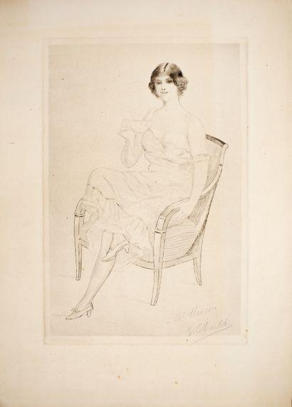 Charlet Franz ?  Madame assise  Pointe sèche...