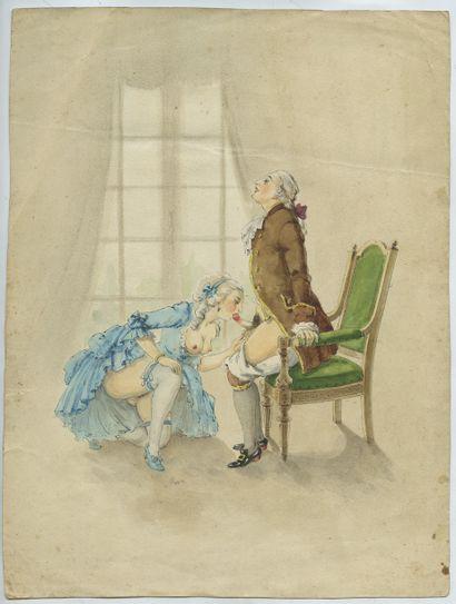 Marquis et Marquise, vers 1900. Aquarelle...