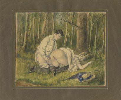 Dans la forêt, vers 1900. Aquarelle originale...