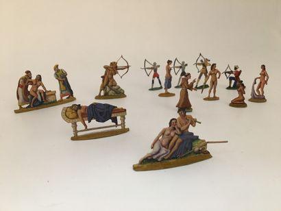 Érotique et guerriers. 13 figurines peintes...