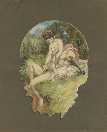 Complicités, vers 1900. Aquarelle originale...