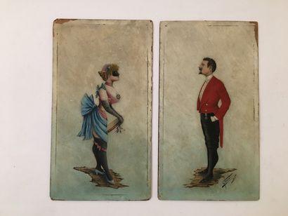 MENARD. Couple au bal, vers 1890. 2 huiles...