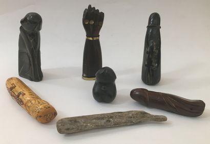 7 objets phalliques, diverses provenances,...