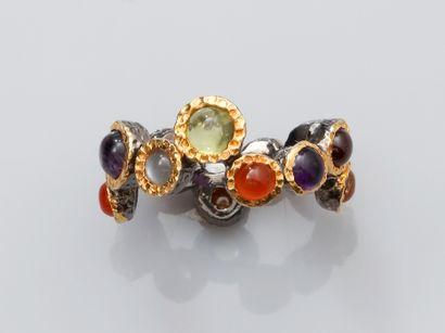 Bague anneau en vermeil, argent 925 MM, dessinant...