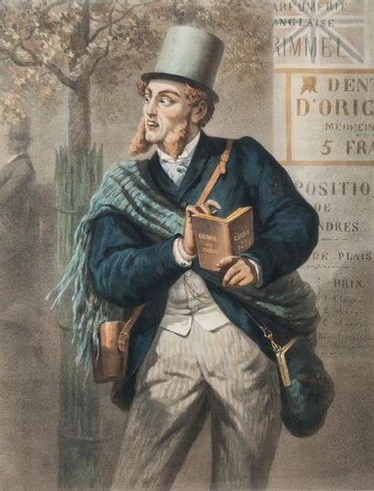 D'après MORLON  L'étranger à Paris  Lithographie...
