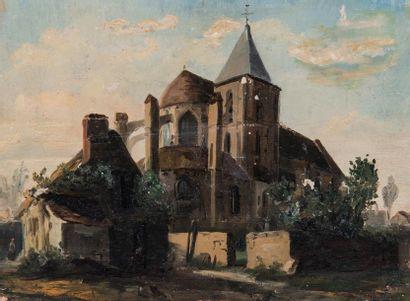 Léon Auguste MELLE (1816-1889)  Église aux...