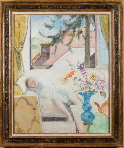 Balthasar Klossowski dit BALTHUS (Paris 1908-Rossinière 2001) La sieste Huile sur...