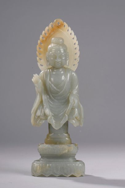 Buste de Buddha Sakyamuni au visage quadrangulaire...