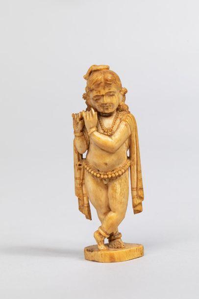 Venukopalakrishna figurée enfant nu paré...