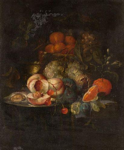 École HOLLANDAISE du XVIIIe?siècle   Fruits...