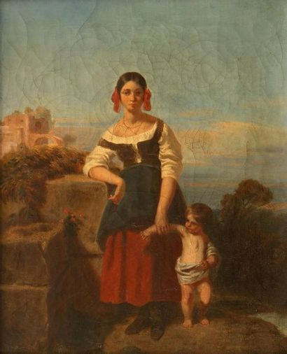 École FRANÇAISE vers 1830   Mère et son...