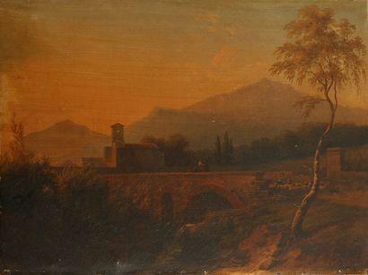 École FRANÇAISE, 1824   Paysage au pont...