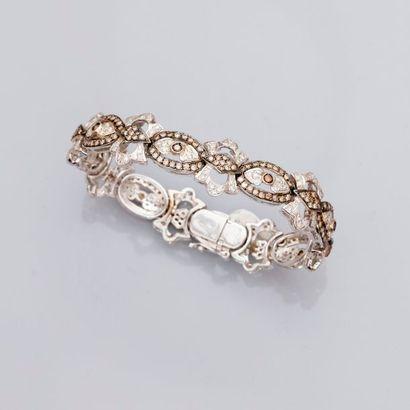 Joli bracelet en or gris, 750 MM, maillons...