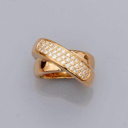 Bague «croisée» en or jaune, 750 MM, centrée...