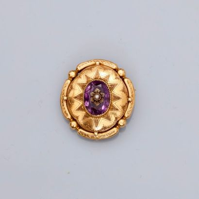 Broche en or jaune, 750 MM, centrée d'une...