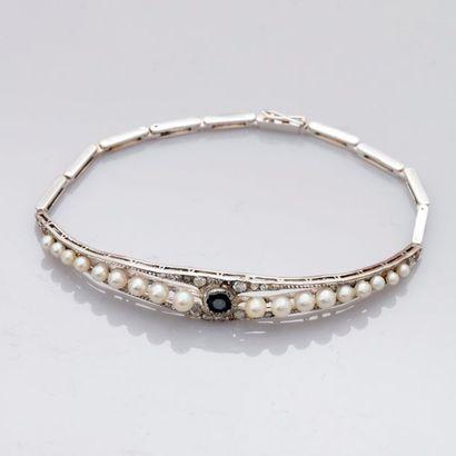 Bracelet semi rigide en or gris, 750 MM,...