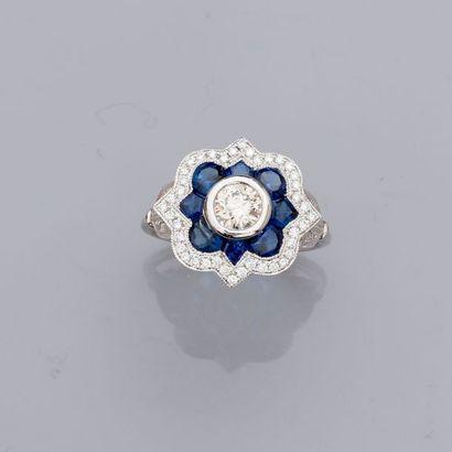Bague en platine 900 MM, ornée de diamants...