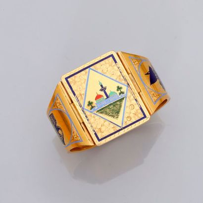 Large bracelet ouvrant en or jaune, 750...