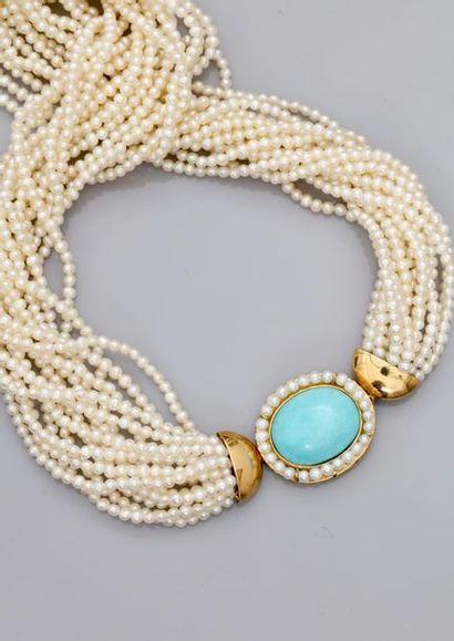 Collier torsade multi-rangs de perles de...