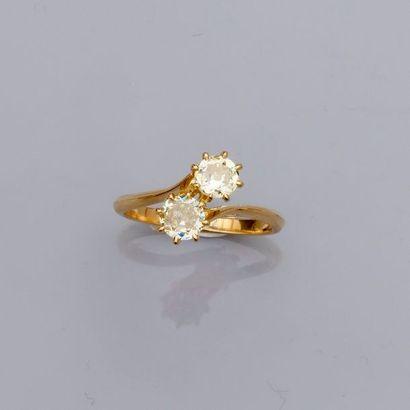 Bague « toi et moi » en or jaune, 750 MM,...