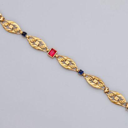 Bracelet à décor naturaliste en or jaune,...