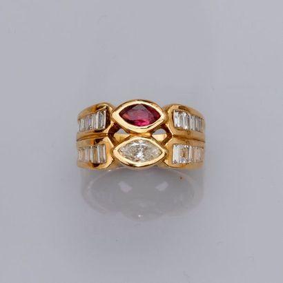 Bague « double anneau » d'or jaune, 750...