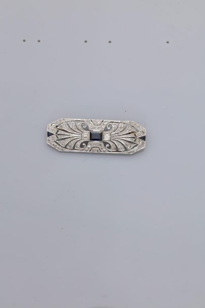 Broche « Plaque » en or gris 750MM et platine...