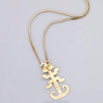 Longue chaîne et pendentif Incas en or jaune,...