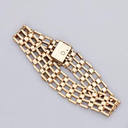 Bracelet plat en or jaune ajouré, 585 MM,...