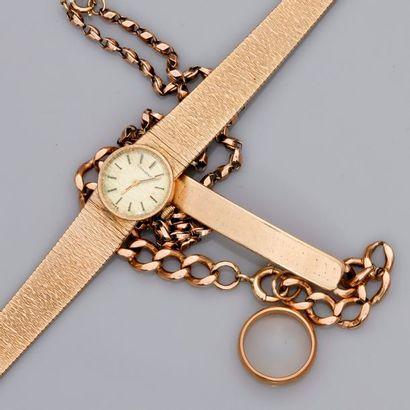 Lot: Chaîne en or , 585 MM, bracelet montre or 375MM, alliance 750MM, gourmette...