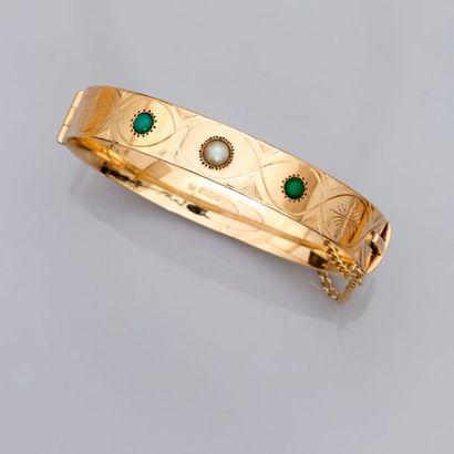 Bracelet rigide, ouvrant en or jaune, 585...