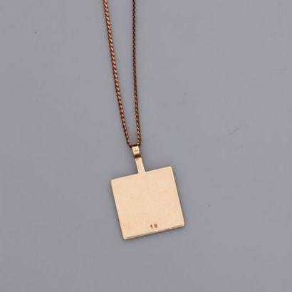 Chaîne et pendentif carré en or jaune, 585...
