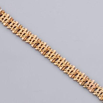 Joli bracelet plat en or jaune, 585 MM, longueur:...