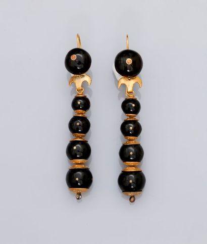 Pendants d'oreilles en or jaune, 585 MM,...