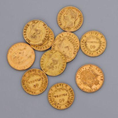 Lot de 2 pièces de 50 francs en or de 1855...