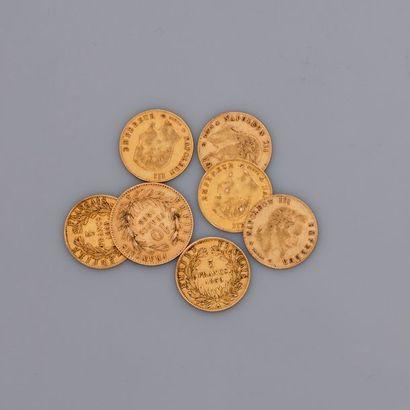 Lot de 7 petites Napoléon or, poids: 12,7gr....