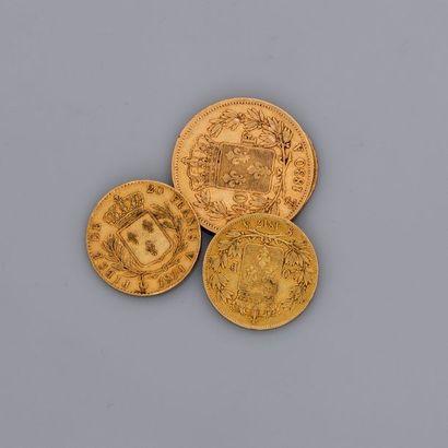 Lot de pièces or , 1 : Charles X, 40F et...