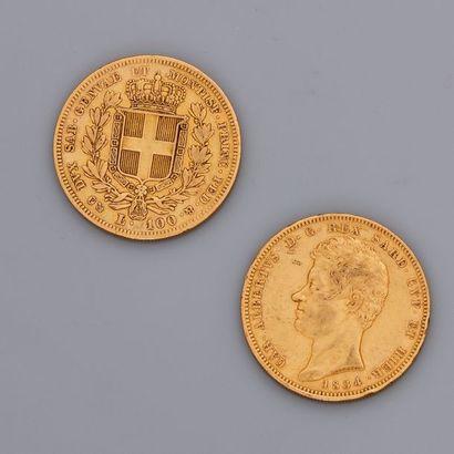 Lot : 2 pièces Sardes or 100 lires de 1834...